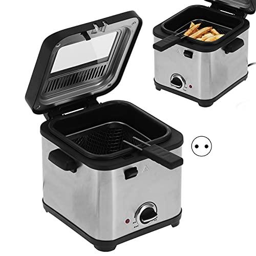 Friteuse, ABS en RVS kookgerei 1,5L voor het maken van frites gehaktballen en andere lekkernijen(pink)