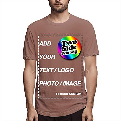 Tencen Camiseta personalizada com design de seu próprio texto imagem logo foto 2 lados estampa traseira neon, Café, XG