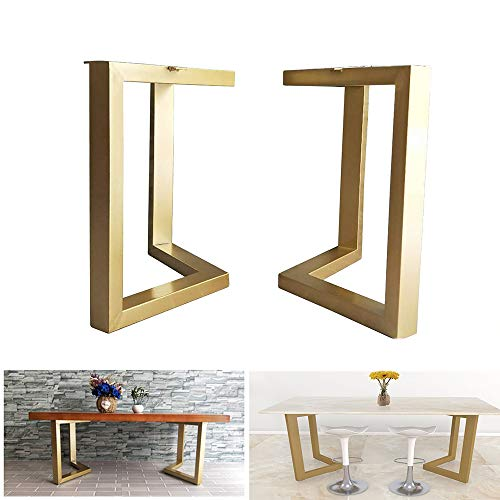 """YCMY 28"""" Height Metal Table Legs Cast Iron Dining Table Legs, Industrial Desk Legs Bench Legs, Rustic Heavy Duty Furniture Legs, V Type Coffee Table Legs 2 PCS, Gold"""