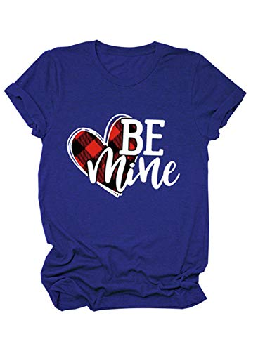 CORAFRITZ Camiseta de manga corta para mujer con estampado de cuadros para el día de San Valentín Be Mine