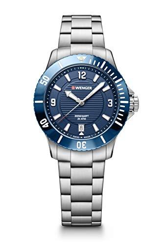 Wenger Seaforce Small - 35 mm, blaues Zifferblatt, Stahlarmband Uhr für Herren