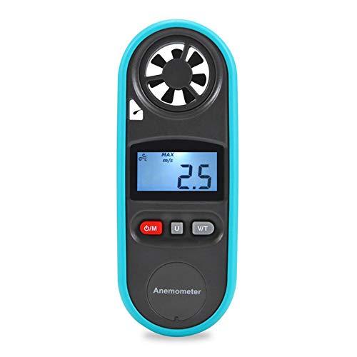 N \ A Digitaler Windmesser, Windgeschwindigkeit/Windtemperatur/Windmessung, mit LCD-Hintergrundbeleuchtung Max/Min für Wetterdatenerfassung und Sport-Windsurfen im Freien (blau)