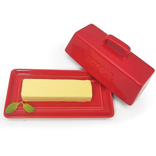 Butterdose Porzellan, Butterdose mit Deckelknopf, Klassische Keramik-Butterteller, Spülmaschinenfeste Butterglocke, Butterbox für 280g Butter, Dose Retro Style (Rot)