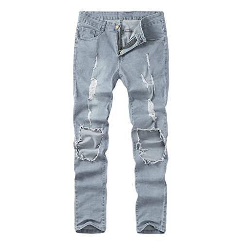 KEERADS Mode Homme Pantalon Serré Denim Trou Biker Déchiré Trou Jeans Skinny Cargo Straight Slim pour Printemps Automne Pantalon Denim Stretch Maigre(FR-44/CN-XL,Bleu)