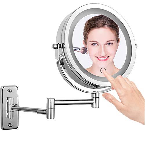 LED Beleuchteter Kosmetikspiegel - 10x fach Vergrößerung Schminkspiegel mit Touch Button Einstellbar Licht Wandmontage, 360° Schwenkbar und Vertikal, 7-Zoll