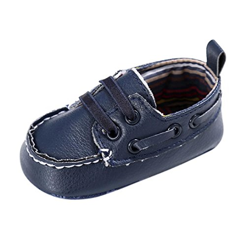 OVERDOSE Baby-Schuhe Jungen-Mädchen Neugeborene Leder-Krippe Soft Sole Schuh Turnschuhe Sneakers Toddler Shoes Prewalker (0-6 Monate, Navy)
