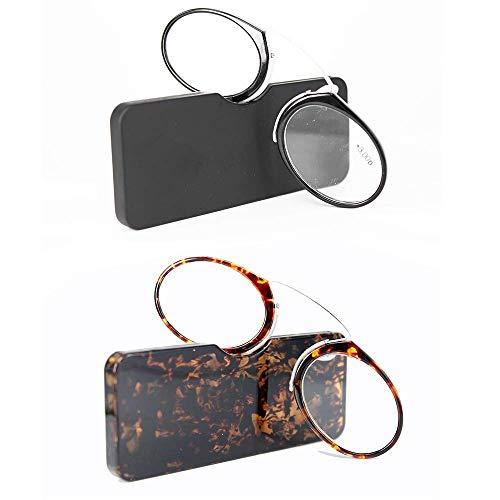 KoKoBin 2er Pack Unisex Lesegläser Kompakte Sehehilfe Mini Nose Clip Bügellose Lesebrille Rutschfest Lesehilfe- Immer griffbereit +2.0