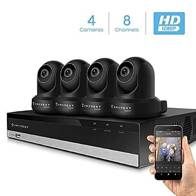Amcrest 2MP Security Camera System w/ 4K 8CH NVR, (4) x 2-Megapixel Dome WiFi IP Cameras, Pan/Tilt Surveillance, Two-Way Audio, NV2108-IP2M-841B4 (Black)