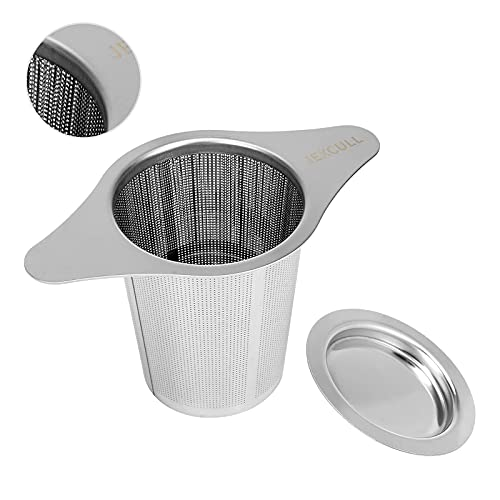 Stainless Steel Tea Infuser, JEXCULL Premium Tea Strainer with Two Handles & Large Capacity for Loose Tea Leaf, Classic Metal Mesh Tea Filter for Cups, Mugs, Teapots