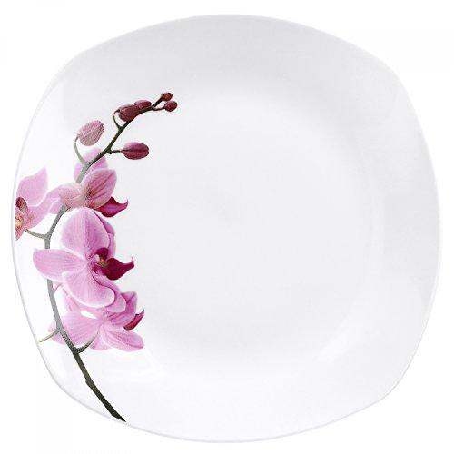 Van Well Assiette à dessert Kyoto, 190 x 190 mm, assiette à gâteau, petite assiette, assiette de service, vaisselle en porcelaine, décor floral orchidée, rose et rouge, rose