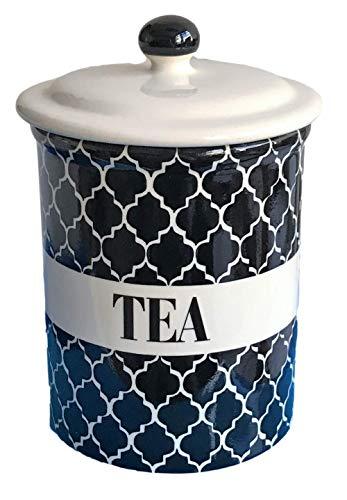 Aufbewahrungsdose aus Keramik, marokkanisches Design, für Tee, Kaffee oder Zucker, 16,5 cm, Schwarz / Cremeweiß