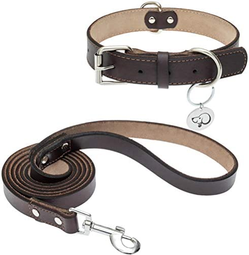 BINGPET Leather Dog Collar and Leash Set Genuine Leather Collars Heavy Duty Alloy Hardware Soft product image