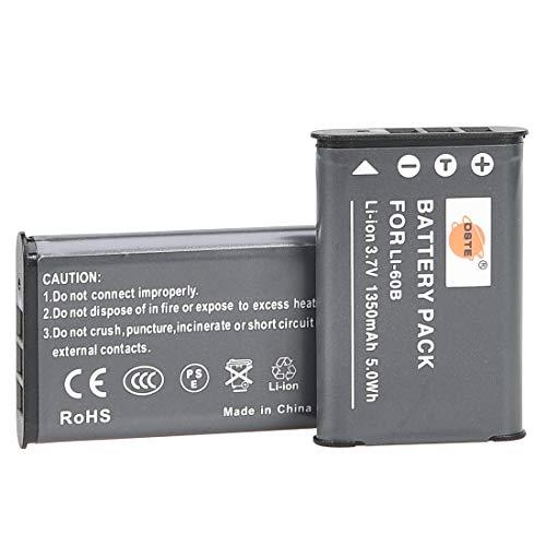 互換バッテリー DSTE LI-60B バッテリーパック 2個 Olympus FE-370, Optio L50, M60, S1,V20, W60, W80 に対応
