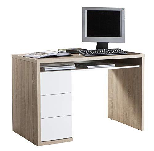 Amazon Marke - Movian - Schreibtisch mit 3 Schubladen, 110 x 75 x 60cm, Helle Eiche/Hochglanz Weiß