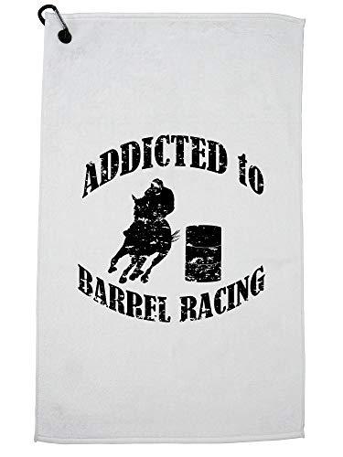 Hollywood draad verslaafd aan Barrel Racing - paard rijden liefde Golf handdoek met karabijnhaak Clip