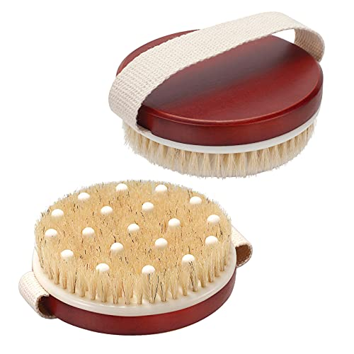 AmazerBath 2 Pack Dry Body Brush for Showering, Dry Brush for Cellulite and Lymphatic, Exfoliating Brush and Natural Bristle Brush, Cellulite Massager to Improve Your Circulation, Brush for Wet or Dry