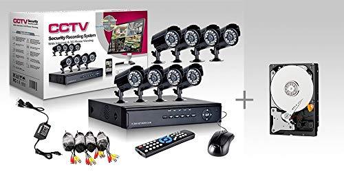 KIT VIDEOSORVEGLIANZA h264 CCTV 8 CANALI TELECAMERA INFRAROSSI DVR 8 CANALI - 8 ALIMENTATORI - 8 PROLUNGHE - HARD DISK 500 GB