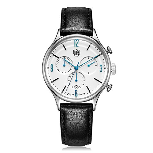 DuFa Unisex Chronograph Quarz Uhr mit Leder Armband DF-9002-03