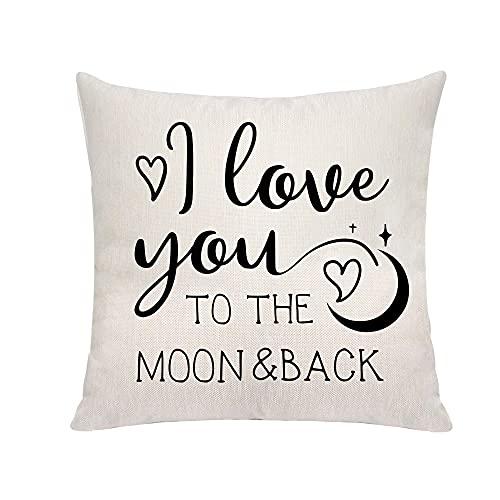 """Fundas de almohada con texto en inglés """"I Love You To The Moon And Back"""", fundas de almohada para el día de la madre, regalo del día de San Valentín, decoración de sofá cama, fundas de almohada de"""