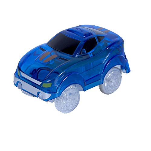 Magic Tracks Light-Up Race Car | Spielzeugauto Kinder ab 3 Jahren | Ideal für Magic Tracks Autorennbahn | Blaues Rennbahn Auto mit LED Licht