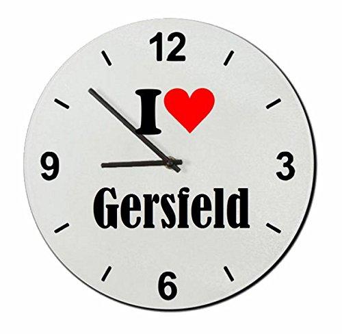 Druckerlebnis24 Glasuhr I Love Gersfeld eine tolle Geschenkidee die von Herzen kommt| Wanduhr| Geschenktipp: Weihnachten Jahrestag Geburtstag Lieblingsmensch