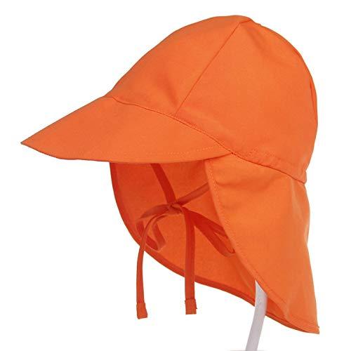 YANYANS Verano Nuevo Sombrero Protegido por el Sol de los niños al Aire Libre Respirable Tela bebé Sombrero de Sol Sombrero de Playa Salida 小码(44-48CM) Orange