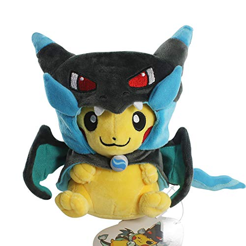 "Bellagione Pikachu Plush Doll Smile Grimace with Poncho of MEGA Charizard 8.5"" for Kids Special for Christmas(Smile)"