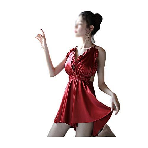 Dingziyue Sexy Lingerie Sexy Ladies Tentazione Uniforme Pigiama Vestito Un Pezzo Halter Opaco Camicia da Notte (Color : Red)