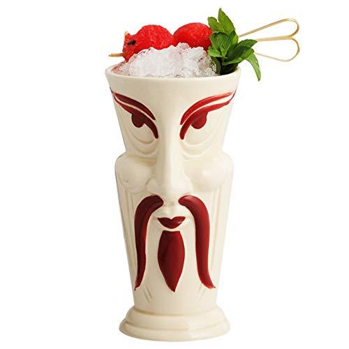 ZKGHJOKZ Tiki-mok Bier Japanse Samurai Tiki-bar Keramische mok Hawaii Cocktailglas Persoonlijkheid Totem Tiki Cup