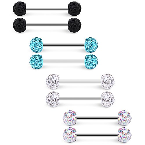 Ruifan 16G 9/16Inch Clear & AB Colorful & Black & Turquoise Crystal Ball Stainless Steel Bar Nipple Tongue Shield Barbell Ring Body Piercing Jewelry 8PCS