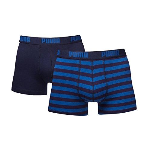 PUMA 651001001 - Boxer - À Rayures - Lot de 2 - Homme - Bleu - Small (Taille Fabricant: 10)