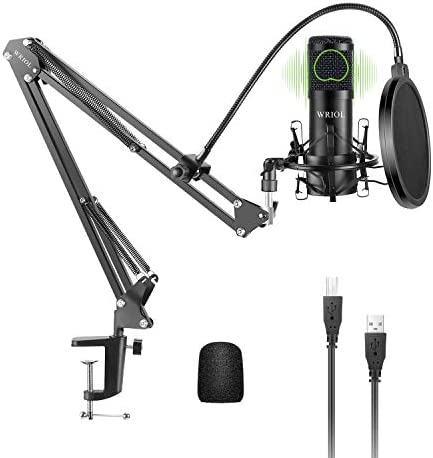 WRIOL USB Cardioid Condenser Microphone Kit with 192KHz 24Bit High fidelity Sound Chipset for product image