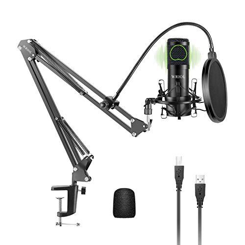 WRIOL Micrófono de Condensador Cardioide USB Kit con Chipset de Sonido de Alta Fidelidad de 192KHz/24 bits para Mac y Windows Ideal para Podcast Transmisión Grabación de Música Voz y Habla (Negro)