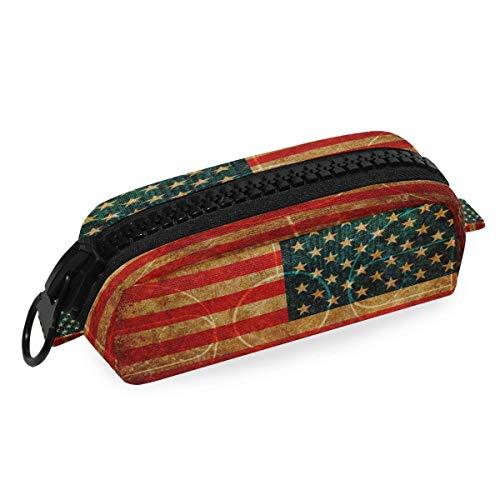 Estuche para lápices con diseño de bandera de Estados Unidos de baloncesto, caja de lápices con cremallera, bolsa de papelería para la escuela, oficina, estudiante universitario