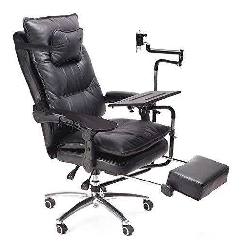 Shushhi - Silla de escritorio ergonómica giratoria para ordenador, respaldo alto, cuero sintético, soporte para teclado y monitor, color negro