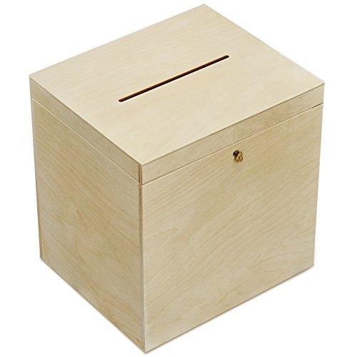 Creative Deco Holzkiste mit Deckel Geldgeschenke Hochzeit Holzbox | 29 x 25 x 30 cm | mit Schloss und Schlüssel Geschenkkarten Box Geldbox Briefbox | Unlackiert Kasten | Ideal für Lagerung