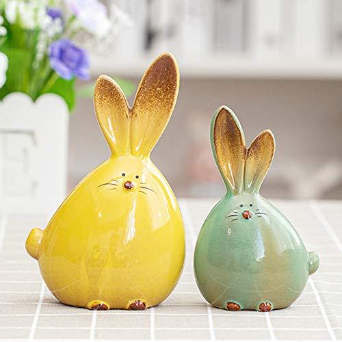 Gishima 2 pcs Ceramic Rabbit Figurine Home Decor Furnishing Animal Statues Porcelain Modern Art Home Decoration Crafts Gift