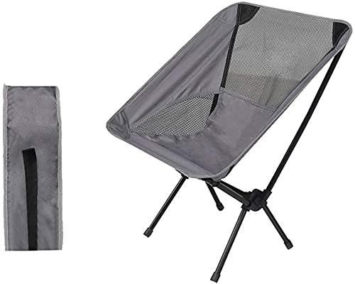 Silla de Camping, Silla de Camping Plegable, Silla al Aire Libre portátil Liviana, paño de Tela de Oxford Grueso 600D y Tubo de Hierro, para Caminatas de mochilero al Aire Libre (Color : Grey)