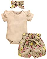 Infant Baby Girl Clothes Short Sleeve Outfits Romper Bodysuit Floral Pants Baby Girl Summer Outfits Sets 0-3 Months