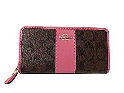 COACH Coated Canvas with Leather Stripe Accordion Zip Wallet in Signature F54630