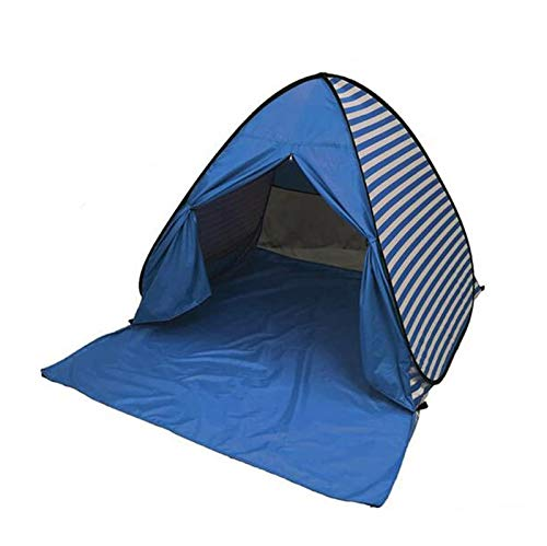 YBK Tech New Stripe Style Automatic Pop Up Beach Tent UV Protection Instant Portable Quick Cabana Sun Shelter for 2-3 Persons (Dark blue)
