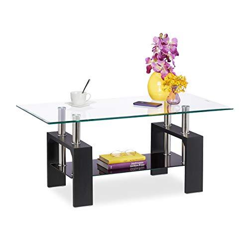 Relaxdays Mesa de Centro (2 Niveles de Cristal, con Espacio de Almacenamiento, imitación de Madera, para salón, Rectangular, 43 x 99,5 x 49,5 cm), Color Negro, 1 Unidad