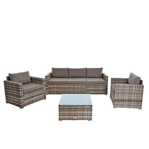 ESTEXO Polyrattan Sitzgruppe XXL Gartenset Rattan Lounge Gartenmöbel Set Essgruppe Garten-Lounge Rattan-Möbel Couch Sofa-Set (Beige-Braun)