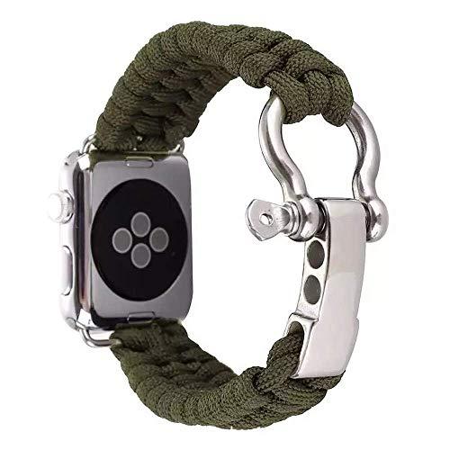 EYECO Outdoor Sport Nylon Strap Umbrella Rope Woven Bracelet Watchband para Apple Watch 42mm / 38mm Series 1/2 Series 3 (42mm Size,Green)