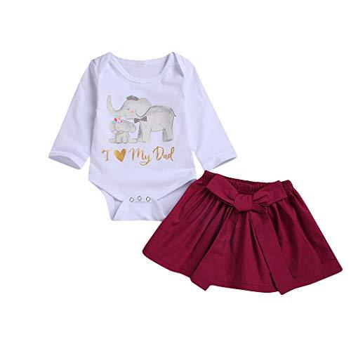 2 PCs Ensemble Enfant Bébé Fille Combinaison Manches Longues Barboteuse Éléphant Lettre Imprimé+ Jupe Bowknot Robe Élégant Mignon Tenues Vêtements 0-1 Ans Sunenjoy