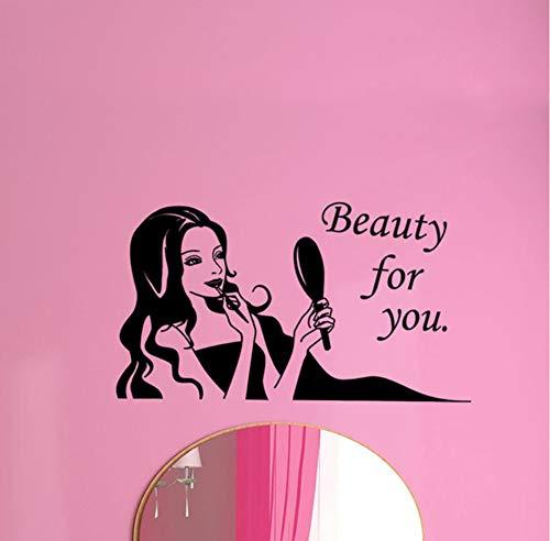 Mrlwy Salon de coiffure coiffeur ongles boutique de cosmétiques autocollants décoration bâton de verre fenêtre de salon de coiffure peut enlever le mur 30x56cm