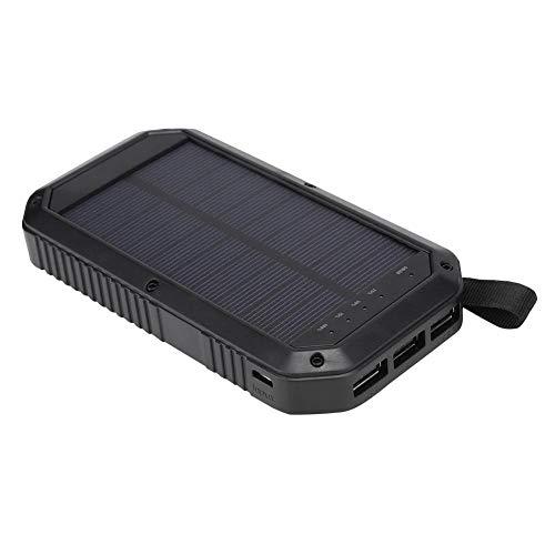 ASHATA, draagbare mobiele powerbank, 10000 mAh, snel opladen, externe zonne-energiebank met 21 krachtige led-campingverlichting, ondersteuning voor draadloos opladen met Qi-certificering
