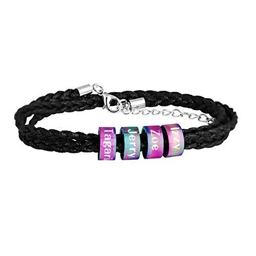 Pulsera personalizada para hombre, pulsera con nombre, pulsera trenzada, pulsera negra, regalo de joyería para novio(Color Titanio Ajustable)