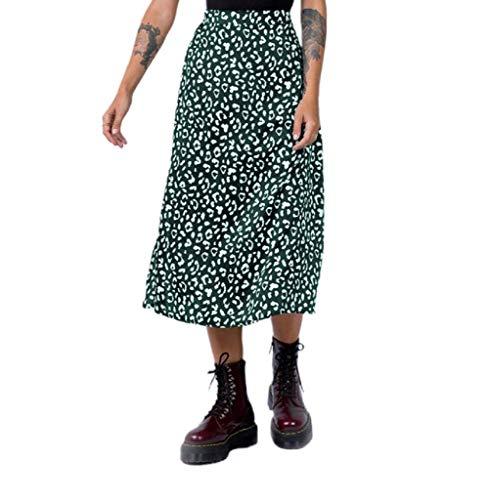 Falda de estilo bohemio para mujer, con estampado floral, cintura alta, corte bajo, Y2K verde S