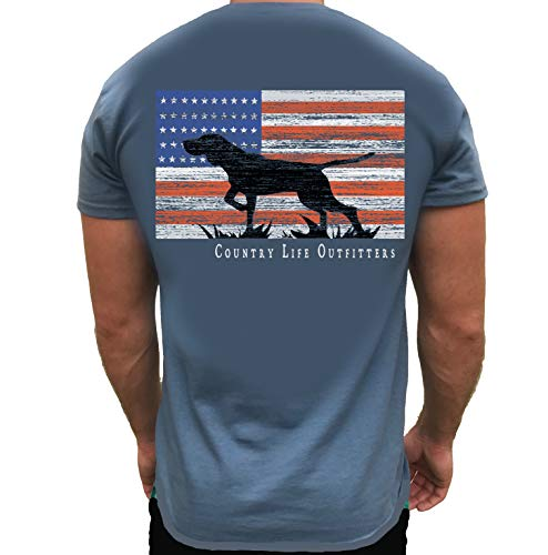 Country Life Outfitters Pointer Dog Americaan Flag Indigo Blue Mens Short Sleeve T-Shirt (Large)